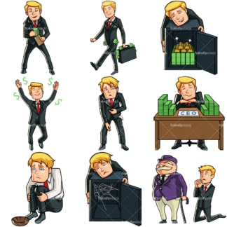 9 Money Vectors Of A Caucasian Business Man