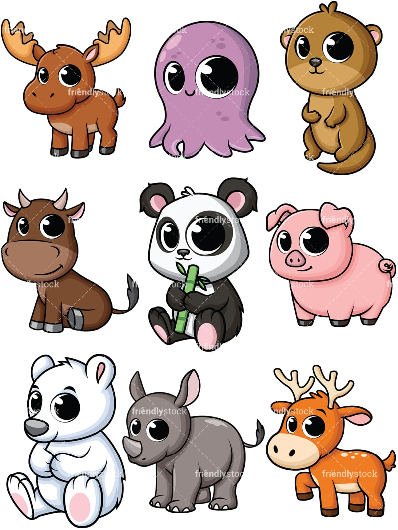 animals cartoon baby clipart vector cute background file collection friendlystock rhino wildlife vectorified