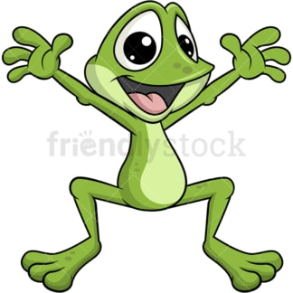 Frog mascot hopping. Transparent PNG
