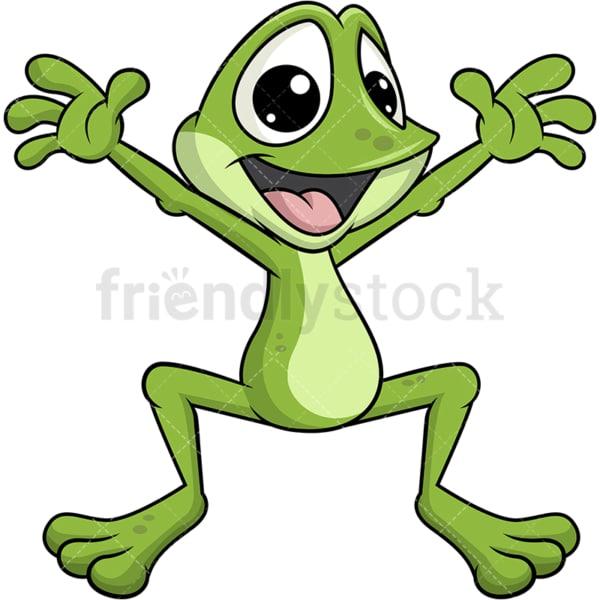 Frog mascot hopping. Transparent PNG