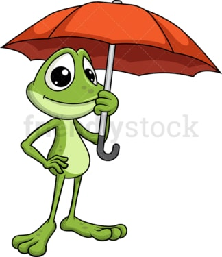 Frog mascot in the rain. Transparent PNG