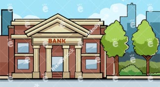 Small Bank Building Exterior Vector Background