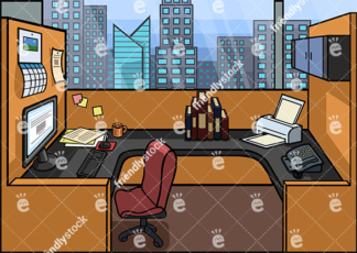 Empty Cubicle Workstation Vector Background