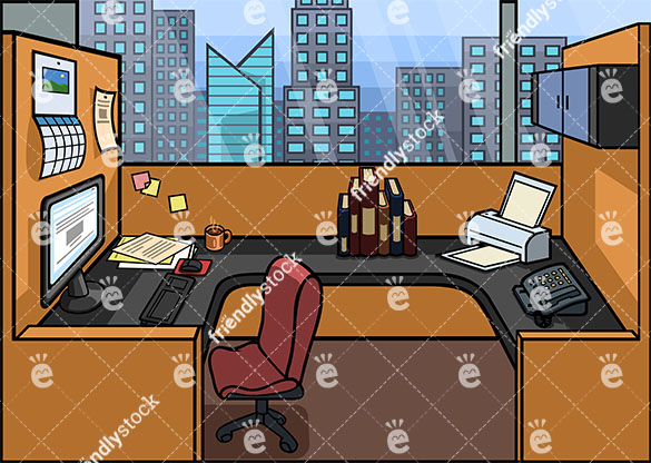Office cubicle background in 16:9 aspect ratio. PNG - JPG and vector EPS file formats (infinitely scalable).