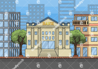 Downtown bank building background  in 16:9 aspect ratio. PNG - JPG and vector EPS file formats (infinitely scalable).