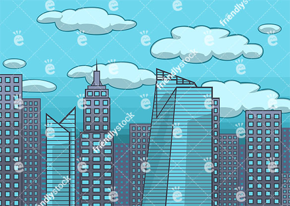 Modern city skyline background in 16:9 aspect ratio. PNG - JPG and vector EPS file formats (infinitely scalable).