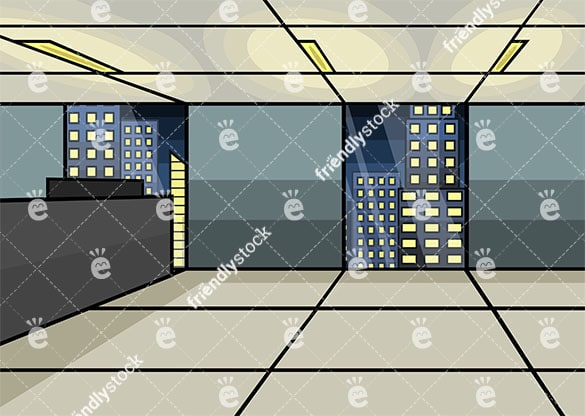 Empty office at night background in 16:9 aspect ratio. PNG - JPG and vector EPS file formats (infinitely scalable).
