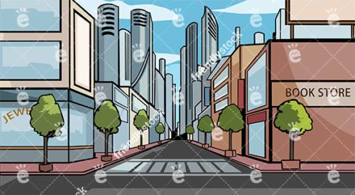 Downtown A Modern Metropolitan City Vector Background
