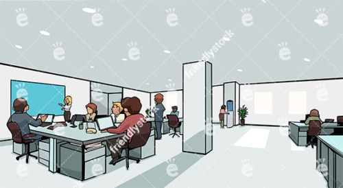 People Co-Working In A Large Corporate Office Vector Background