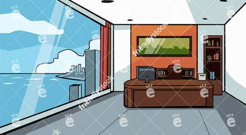 Expensive Office With Great Skyscraper City View Vector Background