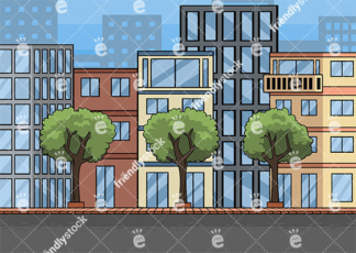 Empty Street And City Buildings Vector Background
