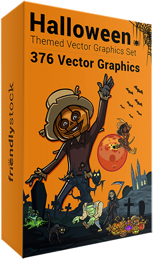 376 Halloween-Themed Vector Graphics Set by FriendlyStock.com