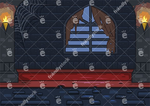 Creepy castle room background in 16:9 aspect ratio. PNG - JPG and vector EPS file formats (infinitely scalable).