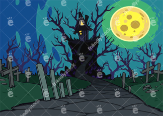 Spooky Witch House At Night With A Nearby Graveyard