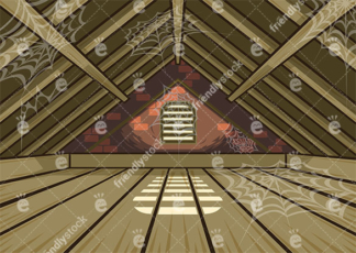 Spooky Attic With Spider Webs Vector Background