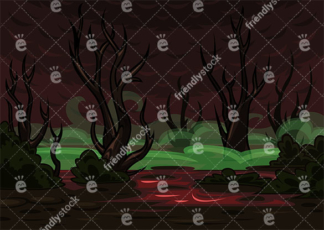 A Spooky Swamp With Dead Trees Covered In Mist Vector Background