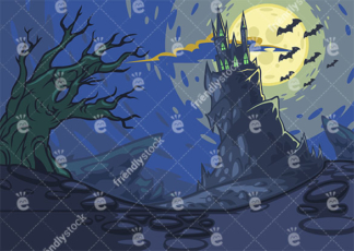 Haunted castle on hill background in 16:9 aspect ratio. PNG - JPG and vector EPS file formats (infinitely scalable).