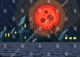 Creepy village moonlight background in 16:9 aspect ratio. PNG - JPG and vector EPS file formats (infinitely scalable).