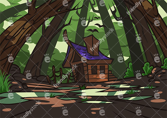 Witch house amidst haunted forest background in 16:9 aspect ratio. PNG - JPG and vector EPS file formats (infinitely scalable).