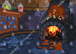 Witch Lair Interior With Lit Fireplace Vector Background
