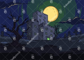 Creepy castle at night background in 16:9 aspect ratio. PNG - JPG and vector EPS file formats (infinitely scalable).