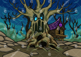 Scary Bewitched Tree With Zombie Eyes And A Haunted House In The