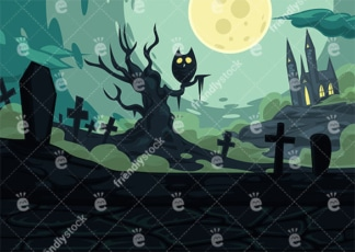 Spooky graveyard background in 16:9 aspect ratio. PNG - JPG and vector EPS file formats (infinitely scalable).