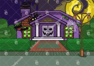 House Decorated For Halloween On A Night With Full Moon Vector B