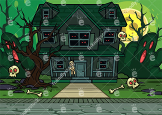 Creepy Haunted House On A Night With Full Moon Vector Background