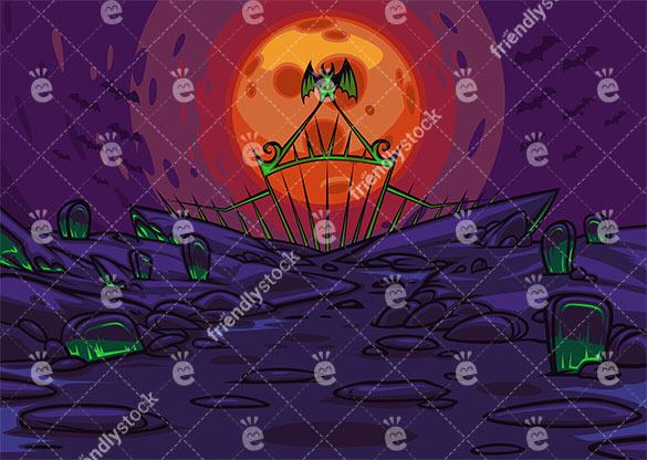Spooky cemetery at night background in 16:9 aspect ratio. PNG - JPG and vector EPS file formats (infinitely scalable).
