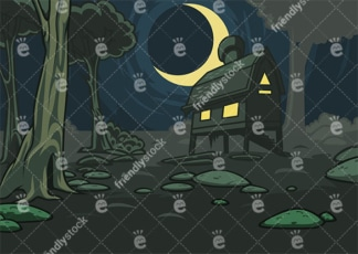 Lone House In The Forest At Night Vector Background