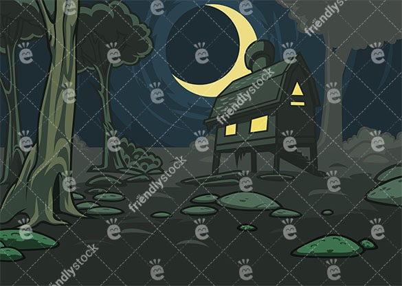 Lone house in the forest background in 16:9 aspect ratio. PNG - JPG and vector EPS file formats (infinitely scalable).