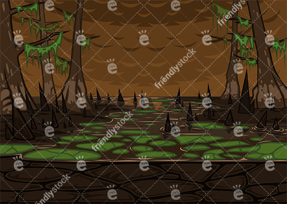 Creepy mangrove swamp background in 16:9 aspect ratio. PNG - JPG and vector EPS file formats (infinitely scalable).