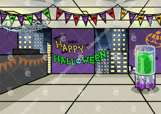 An Office Decorated For Halloween Vector Background