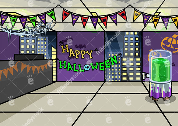 Office decorated for halloween background in 16:9 aspect ratio. PNG - JPG and vector EPS file formats (infinitely scalable).