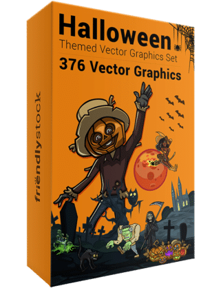 376 Halloween-Themed Vector Graphics Set