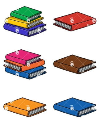 Books And Pile Of Books Cartoon Vector Clipart Collection