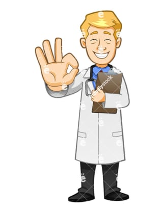A Doctor Making The A-OK Symbol With His Hand While Holding A Medical Report - Cartoon Vector Clipart