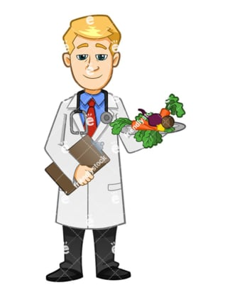 A Smiling Doctor Holding A Medical Report And A Plate Full Of Veggies - Cartoon Vector Clipart