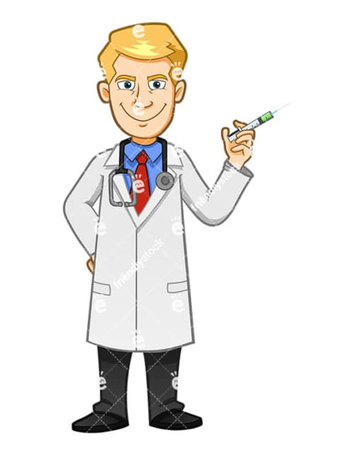 A Doctor With Evil Look Holding A Syringe - Cartoon Vector Clipart