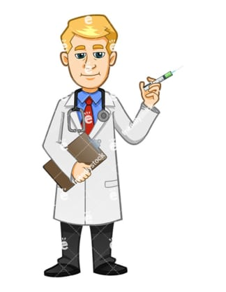 A Smiling Doctor About To Administer A Flu Shot With A Syringe - Cartoon Vector Clipart