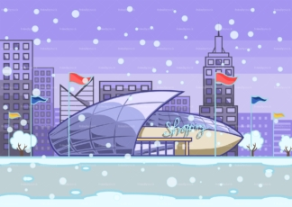 Shopping mall in the winter background. PNG - JPG and vector EPS file formats (infinitely scalable). Image isolated on transparent background.