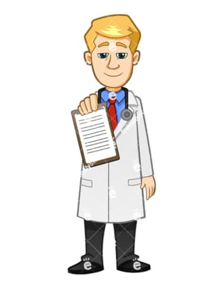 A Physician Holding And Showing A Medical Report While Smiling - Cartoon Vector Clipart