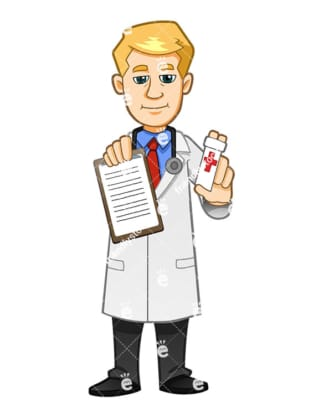 A Doctor Holding A Medical Report And Some Pills Or Painkillers - Cartoon Vector Clipart