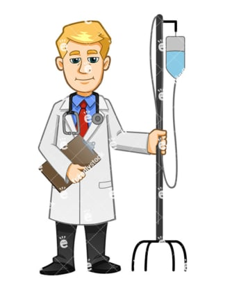 A Male Doctor Carrying Holding An IV Stand And A Medical Report - Cartoon Vector Clipart