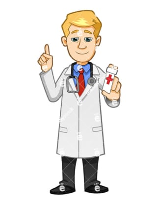 A Medical Practitioner Holding A Bottle Of Pills And Pointing Up - Cartoon Vector Clipart