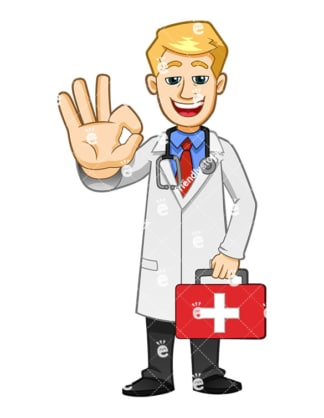 Health professional holding first aid kit and making the a-ok gesture. PNG - JPG and vector EPS file formats (infinitely scalable). Image isolated on transparent background.