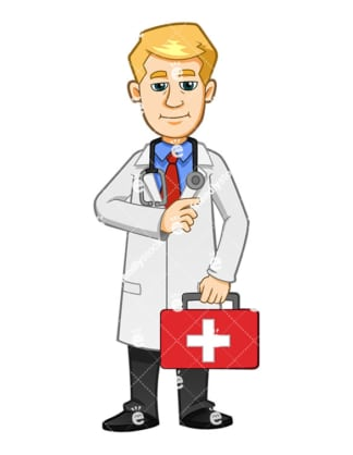 A Male Nurse Holding A First Aid Kit And Smiling - Cartoon Vector Clipart