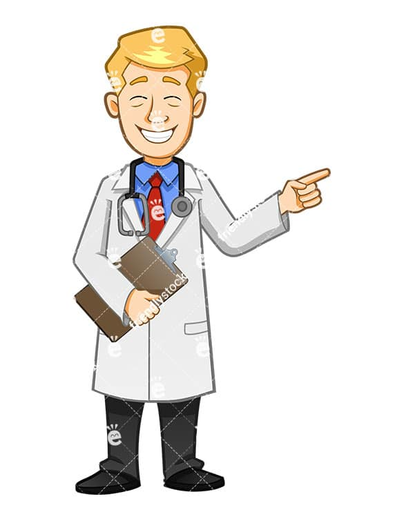 Doctor grinning and pointing while holding clipboard. PNG - JPG and vector EPS file formats (infinitely scalable). Image isolated on transparent background.
