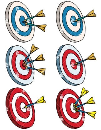 Dart Boards Cartoon Vector Clipart Collection